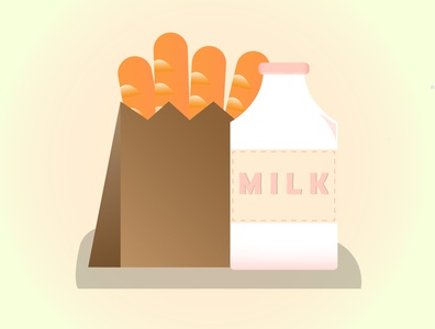 Mild and Bread mild funny tasty milk shiny cartoon summer illustration fun designer illustrator graphicdesign food design