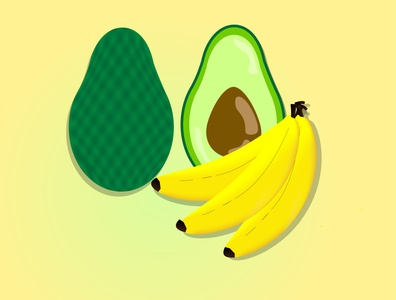 Avacado plus bananas tasty shiny cartoon summer illustration designer illustrator graphicdesign food design