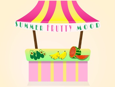 Summer stall.Fruits shop. healthcare health vitamins shopping shop stall tasty shiny cartoon summer illustration designer illustrator graphicdesign food design