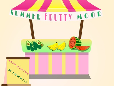 frutty stall shiny fun cartoon summer illustration designer illustrator graphicdesign design food