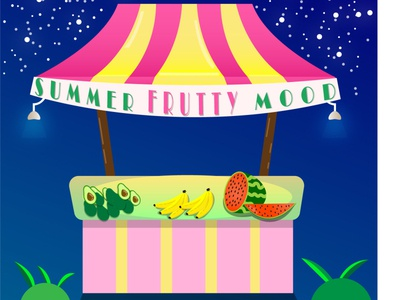 Fruits time stars night fun shiny cartoon summer illustration designer illustrator graphicdesign food design