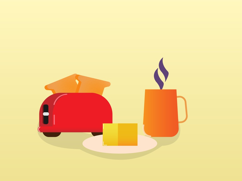 Breakfast cup butter toaster tea fun shiny cartoon summer illustration designer illustrator graphicdesign food design