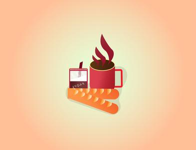 Breakfast Set. sugar tea bread fun shiny cartoon summer illustration designer illustrator graphicdesign food design