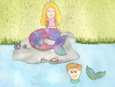 Mermaids fairytale pink mermaids water splash childrens illustration childrens book illustration children swimming watercolours watercolor illustration childrens book