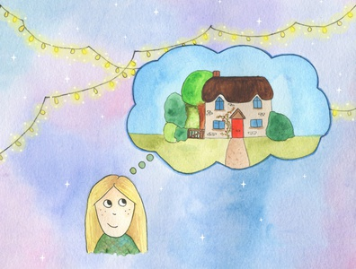 Day Dreaming of Home twinkle lights house thinking days home daydreaming daydream fairytale childrens illustration childrens book illustration children watercolours watercolor illustration childrens book