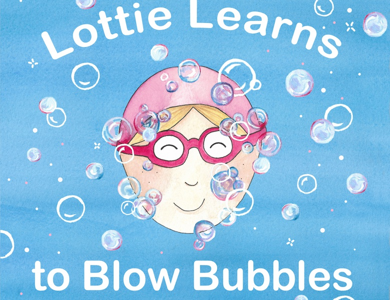 lottie Learns Front Cover front cover bubbles pink goggles water splash swimming childrens illustration childrens book illustration children watercolours watercolor illustration childrens book