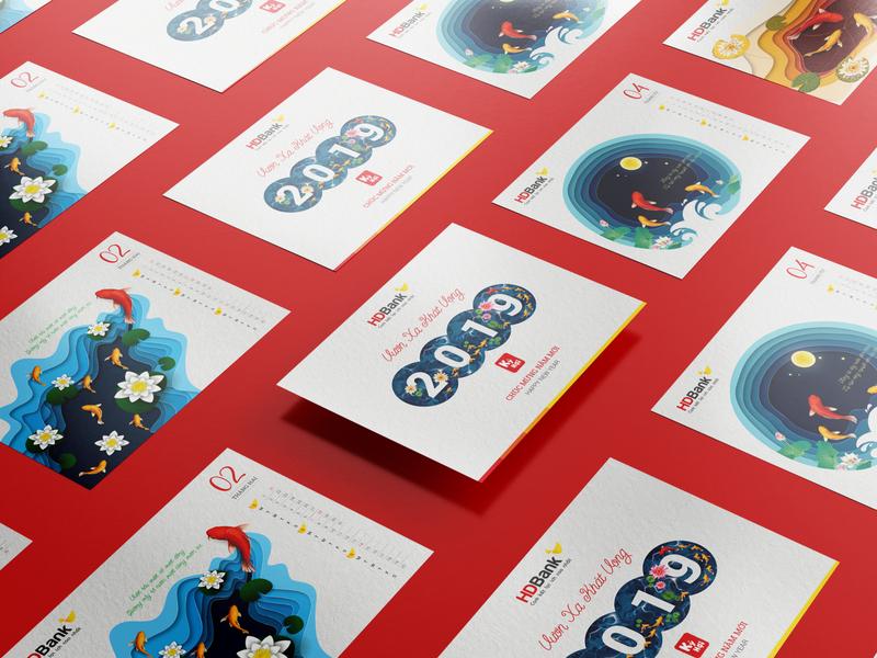 HD Bank Calendar Design calendar design koi fish