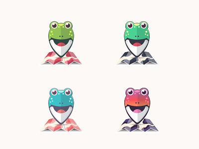 Frog Logo curves frog graphic design brand mobile map app illustrator type logo