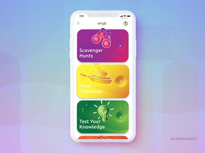 Kids Explorer Menu gradient clean bright mock ios app mobile ux ui illustrator illustration menu