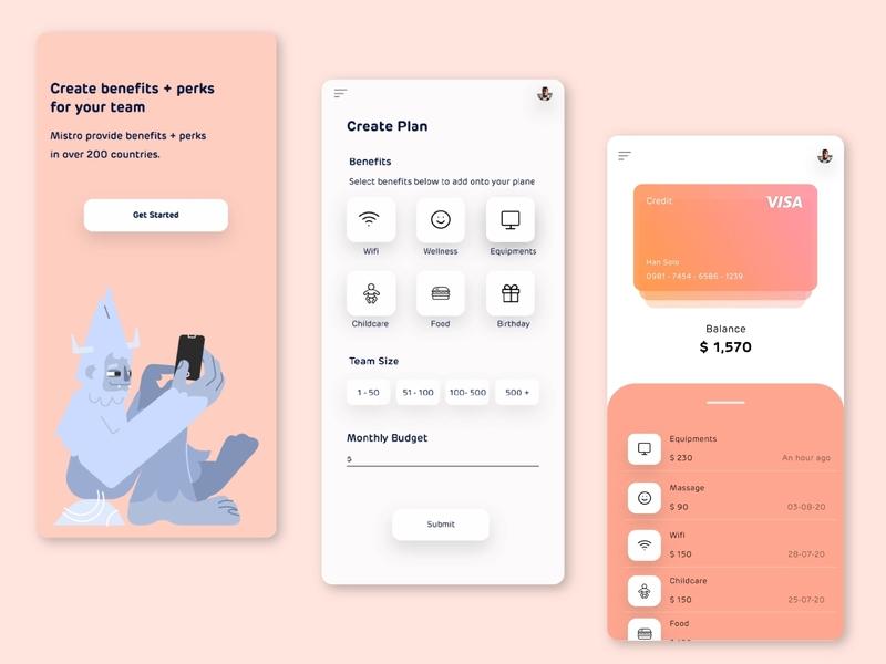 Mistro mobile ui design app design ui design