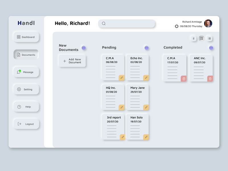 Handl Dashboard neumorphism web design web ui design ui design