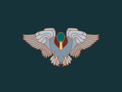 Mallard Duck in Flight wing logo vector line icon flight duck illustration