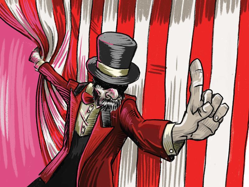 1 Dribbble Invite creepy top hat procreate illustration circus invite dribbble invite