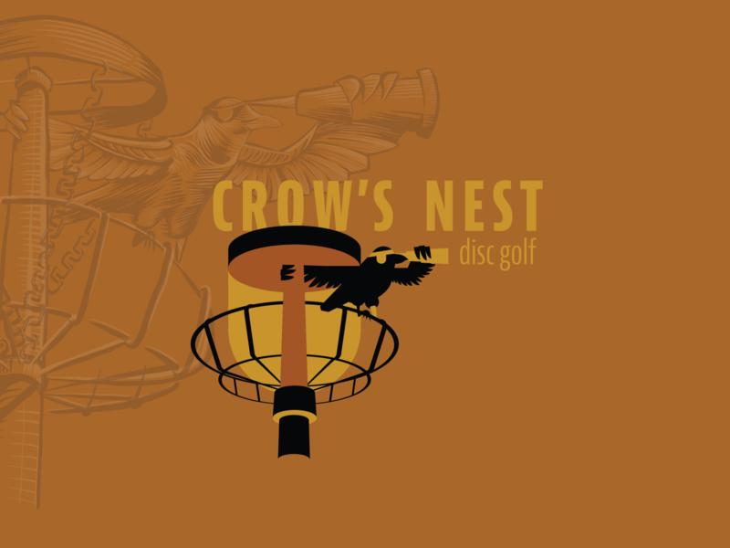 Bird #7 Crow's Nest Disc Golf Branding sport outdoors peg leg simple pirate golf fresco illustrator illustration disc disc golf crow branding design