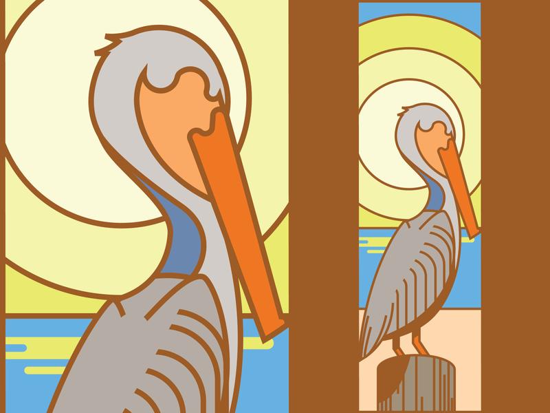 Bird Project Pelican sunrise line art simple sun beach bird pelican illustration design