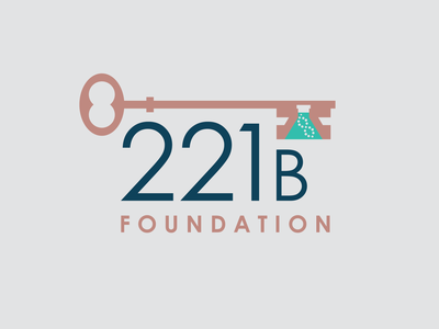 221B Foundation Logo biotech beaker key logo nonprofit sherlock holmes illustration branding design