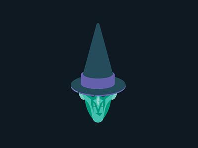 Witch Head drawtober vector design illustraton halloween hat witch