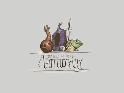 Wicked Apothecary - Drawtober Week 2 drawtober apothecary frog skull illustration design