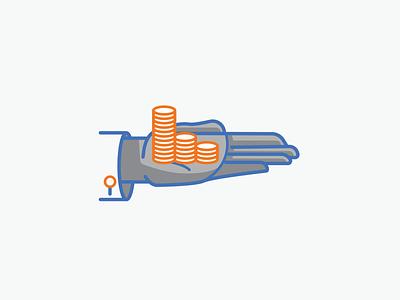Cash Management Icon branding cash banking coins hand icon vector illustration design