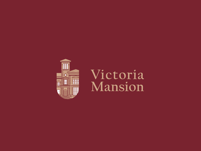 Victoria Mansion Logo victorian historic brand icon design museum architecture history mansion building illustraion branding logo