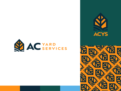 AC Yard Services Branding lawn landscaping nature tree grass design monoline house logo branding