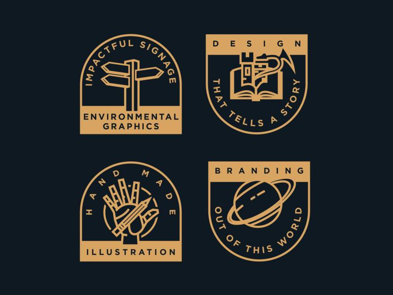 Service Icons hand icon branding and identity vector space dragon line art badge illustration branding design