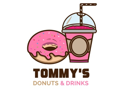 Donuts & Drinks vector illustration identity branding design logo