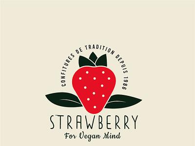 strawberry for vegan mind typography identity branding logo design