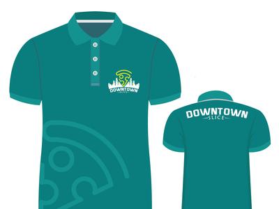 SHIRT for Downtown slice flat vector typography minimal logo design branding