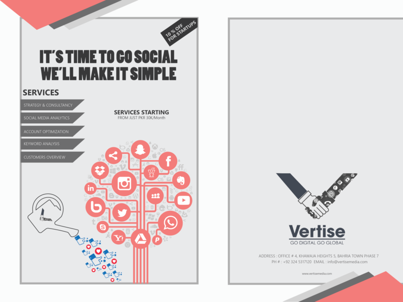 broucher Front Vertise type illustrator flat vector typography minimal logo design branding