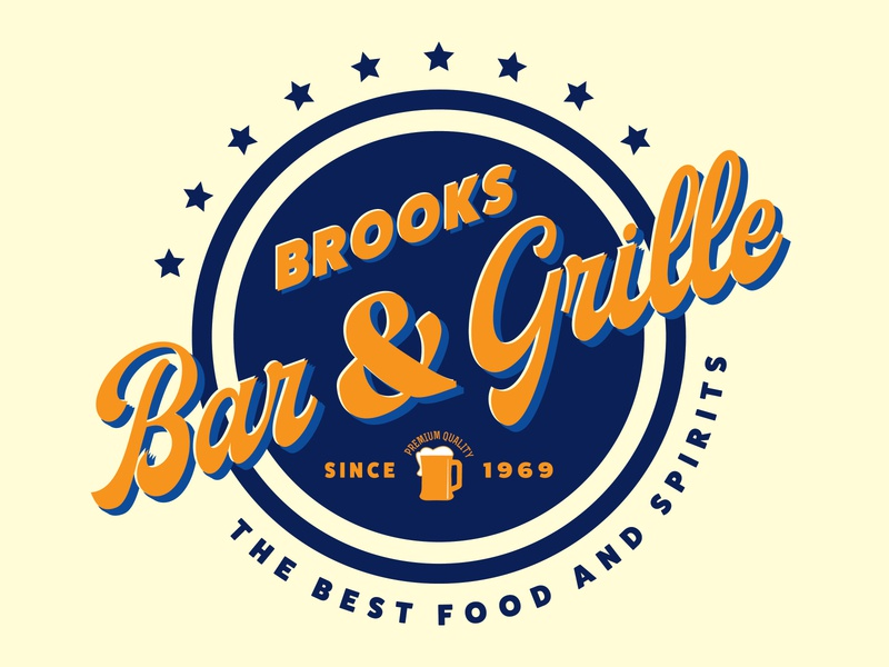 BROOKS Bar & Grille t-shirt illustrator vector illustration logo design