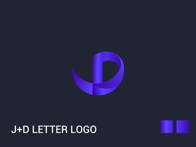 J+D letter logo blue identity design lettering illustrator minimal 3d clean unique icons illustration typography app icon vector brand logo design branding logo