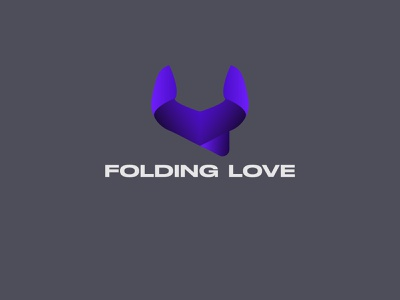 FOLDING LOVE MODERN LOGO modern lettering design clean minimal 3d graphic design unique illustration typography blue icon app simple brand vector branding logo design logo