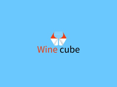 WINE CUBE modern mobile illustrator flat web logo typography minimal illustration icon design app brand vector branding logo design logo