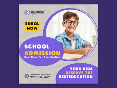School Admission Social Media Post Template kids school post back to school banner social media pack banner ads banner web banner social media post social media banner admission banner school youtube thumbnail youtube banner facebook ads facebook banner facebook cover facebook post school admission banner instagram banner instagram stories instagram post