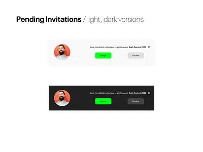 #78 Daily Ui / Pending Invitation daily ui 078 invitation design daily ui 78 darkmode invitation card invitation pending invitation app dailyuichallenge ui ux