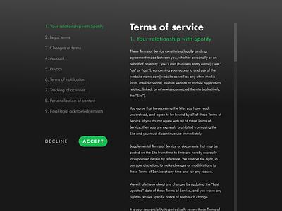 #89 Daily Ui / Terms of Service legalui spotify redesign spotify multiscale terms of service tos daily ui dailyuichallenge design ui ux