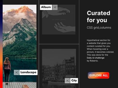 #91 Daily Ui / Curated for you landscape music daily ui challenge website design website web cssgrid curated for you dailyui daily ui 091 dailyui91 daily ui dailyuichallenge ui design ux