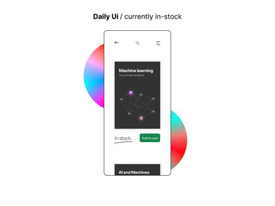 #96 Daily Ui / Currently in stock dailyuichallenge dailyui mobile app design daily ui 096 daily ui 96 book machine learning stock currently in stock in stock mobile app mobile ui mobile web app design ui ux