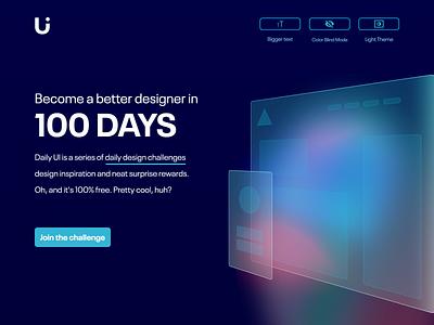 #100 Daily Ui / Daily Ui Website redesign (Dark) darkmode daily ui challenge dailyui100 daily ui 100 dailyui 100 landingpage website design daily ui web app dailyui dailyuichallenge design ui ux