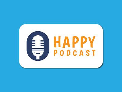 Happy Podcast/ Podcast Logo Design modern logo design flat illustration iconic logo 3d logo app logo branding logo design podcast logo podcast logo