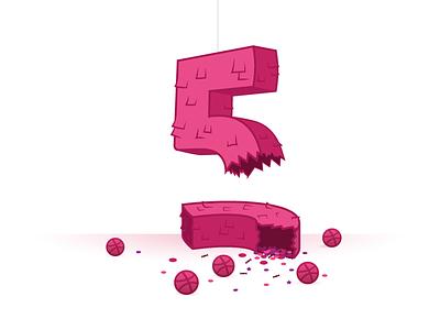 Dribbble 5 years anniversary Piñata dribbble anniversary numbers illustration pinata candy