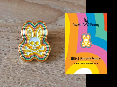 Psychedelic bunny store pin retail rainbow psychedelic fashion illustration branding motion graphics animation