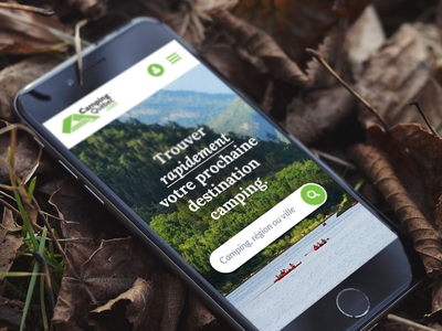 Camping website cards search tree forest outdoor nature green responsive mobile ux ui camping