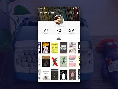 Book App user profile daily ui daily ui 006 android material ui ux mobile app ebook book