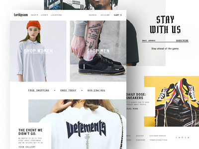 Streetwear Fashion Website free shipping photography nike grid banner shoes homepage website ecommerce fashion streetwear