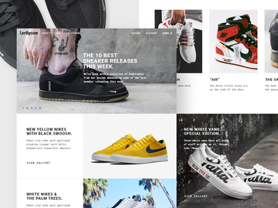 Sneakers streetwear blog layout layout photography nike banner sneakers shoes blog website ecommerce fashion streetwear