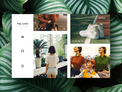Inspiration website filters location search burger menu nav autumn fall sneakers shoes green plants