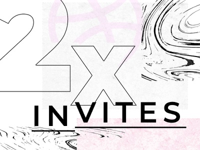 2 Dribbble invites dribbble invitation 2x notification ball pink grey invitation invite dribble dribbble