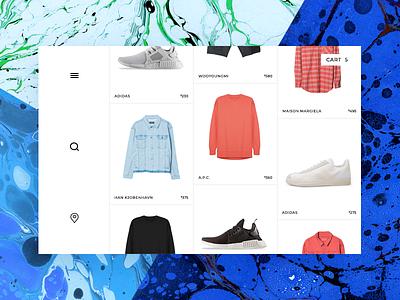 ecommerce streetwear product grid location menu search clothing sneakers streetwear blue background grid product fashion ecommerce